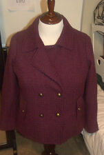 I B DIFFUSION Womens 1X Plum Purple Peacoat Gold Buttons NWOT!!