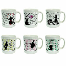 Alice in Wonderland Set of 6 Novelty Ceramic 10oz Mugs with slogans
