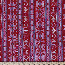 Cotton Knit Winter Christmas Snowflakes Sweater Print by the Yard- Red- D342.12