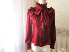 Cosplay Lolita Gothic Shirt Princess Blouse with bowtie (Red Wine Color)