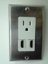 HUBBELL AC 15A 110V POWER OUTLET WHITE & 2x HDMI 1.4v STAINLESS STEEL WALLPLATE