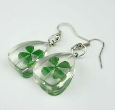 pair Of Cool Summer Celtic Lucky Real Four Leaf Clover Lovly Green Earring