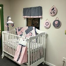 Cocalo MADISON 9 Piece Crib Bedding Set PINK BLUE NURSERY Excellent Condition