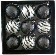 9 Luxury Decorated Black Silver 80mm Christmas Tree Ball Baubles Ornaments Decor