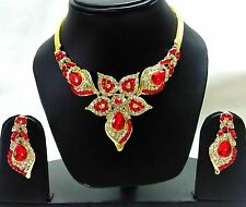 Indian Traditional antique Kundan Red Set Necklace and Earrings Gold Plated