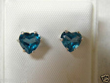 NATURAL 6mm 2tcw London blue topaz earrings 925 sterling silver USA made