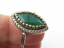 925 Sterling Silver Turkish Ottoman Handmade Hurrem Sultan Emerald Ring Sz 8