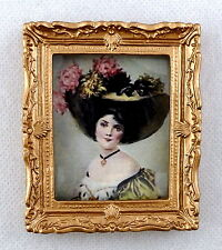 Dolls House Miniature Accessory Victorian Lady Picture Painting Gold Frame