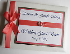 PERSONALISED WEDDING GUEST BOOK WITH DIAMONTE BUCKLE (CORAL) - ANY COLOUR