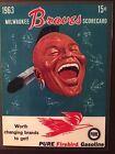 Milwaukee Braves 1963 baseball scorebook/program cover card