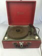 Vintage Birch Portable Record Player Model 042 Red Case Parts Or Repair