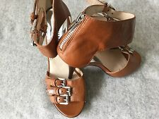Michael Kors triple ankle strap high heel sandals Luggage brown leather 6,5 US