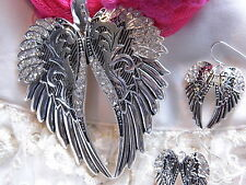 VALENTINES WESTERN HEART MOM WIFE ANGEL CRYSTAL WINGS pendant NECKLACE Earring