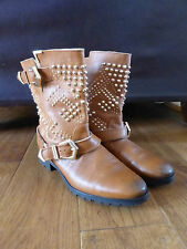 Zara Woman tan leather studded biker ankle boots 37 4 VGC smart