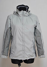 WOMENS COLUMBIA JACKET COAT PADDED HOODED HIKING FLEECE LINED GREY S SMALL EXC