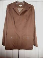 EUC Nordstrom Studio 121 Brown Cotton Rayon Snap-Up Lined Jacket Women's Large