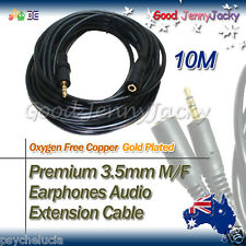 10M Gold Plated 3.5mm M/F Earphones Audio Extension Cable Lead Cord