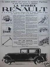 PUBLICITÉ 1927 RENAULT LA VIVASIX LA VOITURE MODERNE 6 CYLINDRES TORPEDO