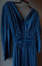 Vintage Tailored Dress, Size 14, Long/tall fit, blue satin ruched empire line