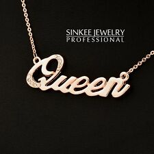 18K Rose Gold Charm Queen Letter Necklace For Women Brand Jewelry Statement 2017