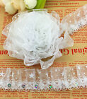 Hot New 5 yards 2-Layer White organza Lace Gathered Pleated Sequined Trim
