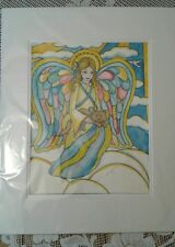Rhonda Shereck artist signed Stain Glass Angel watercolor painting Beautiful!