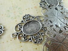15 Silver Plated Oval Cabochon Settings Blank Trays Pendants 33730