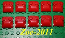 Lego 10x Red Brick Modified 2x2 Two Studs, Curved Slope End (47457) NEW