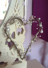 Beaded Hanging Heart Decoration Pearl & Crystal White Beads Wedding Favour Gift