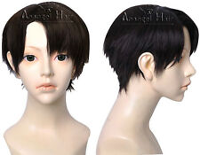 Anangelhair Attack on Titan Levi Cosplay Wig Synthetic Short Brown Full Wigs