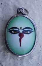 Tibetan Pendant Enamel & Metal BUDDHA EYES - Green