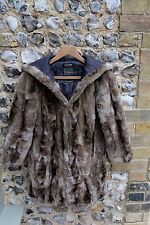 Women's RIVER ISLAND Faux Fur Coat Brown Hood UK 6 Animal Long Jacket Grey Small