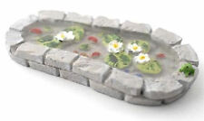 Miniature Grey Stone Fairy Pond with Frog (Fairy Garden Accessory) 1/12th Scale