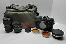 Vintage Black Canon AE-1 35mm Camera w/Lenses, Power Winder, Data Back, Bag, ETC