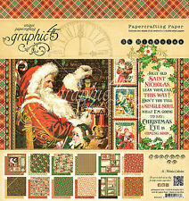 Graphic45 ST. NICHOLAS 8x8 PAPER PAD scrapbooking (24) sheets CHRISTMAS