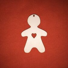 10 pcs 6cm CHRISTMAS GINGERBREAD ( n2) & heart  WOODEN SHAPE CRAFT HANGING TAG