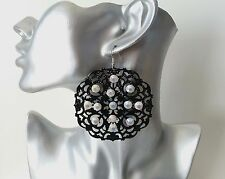 Gorgeous large black filigree & AB diamante rhinestone disc drop earrings * NEW*