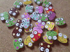 10 x 2-Hole Printed Wooden Buttons - 21mm - Frog - Mixed Colour