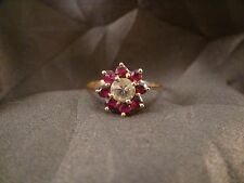 Great Unusual Vintage 14K Yellow Gold Ruby and Diamond Ring - 8 Rubies/1 Diamond