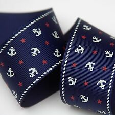 "5YD 1.5"" Anchors Away Nautical Patriotic Grosgrain Ribbon Hairbow bow"
