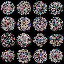 Lot 16 pc Mixed Vintage Style Golden Rhinestone Crystal Brooch Pin DIY Bouquet