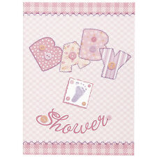 8 Baby Pink Stitching Baby Shower Party Invite Invitations Plus Envelopes