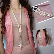 Popular Women White Artificial Pearls Long Knot Chain Charms Necklace