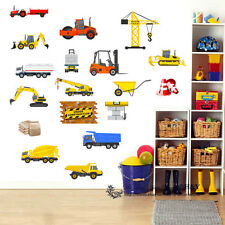 18 Pcs Construction Transport Wall Stickers Nursery Decor Boys Decal Tractor Car