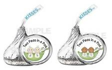 Peapods Two Peas in a Pod TWINS BABY SHOWER  kiss labels PARTY FAVOR
