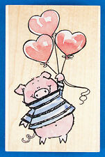 Piggy Love Rubber Stamp - Pig with Valentine Heart Shaped Balloons - Penny Black