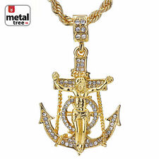 "Men's Hip Hop Mini Anchor Jesus Cross Pendnat 24"" Rope Chain Necklace Set"