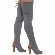 WOMENS LADIES KNIT STRETCH THIGH HIGH OVER THE KNEE CELEB BLOCK HEELS BOOTS 3-8