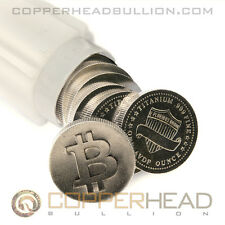Tube of 10x 1oz Titanium Rounds Bitcoin Design .999 Fine Titanium Bullion Coins