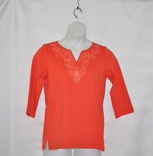 Bob Mackie Ribbon Embroidered Split Neck Top Size S Coral